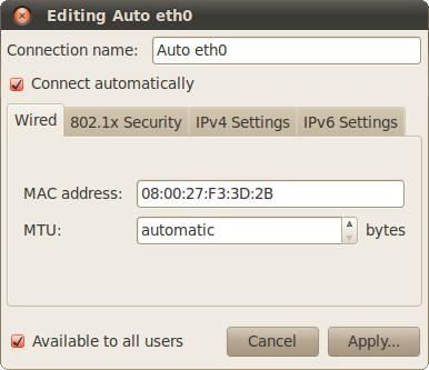 Скриншот Editing auto eth0